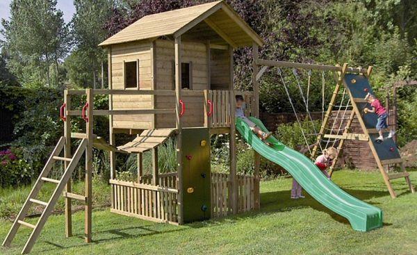 La cabane de jardin pour enfant est une id e superbe pour votre jardin jardin sur lev - Cabane enfant toboggan ...