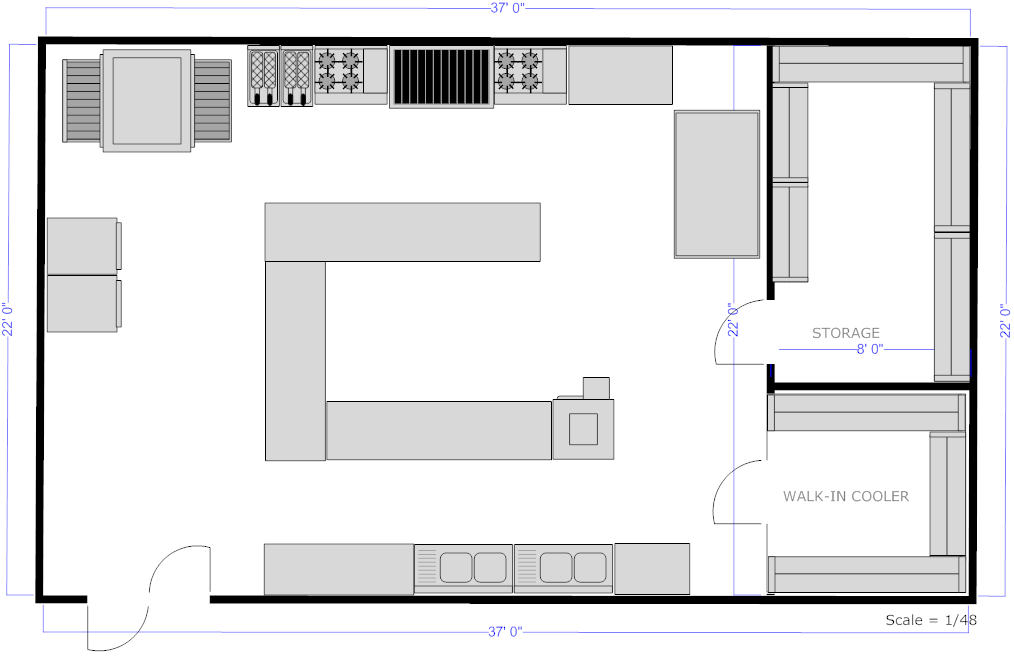Appealing restaurant kitchen plan using free kitchen for Restaurant planning software