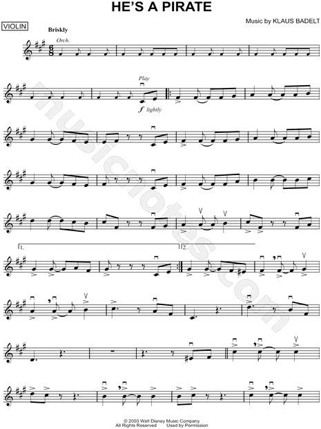 He S A Pirate Violin Sheet Music From Pirates Of The Caribbean