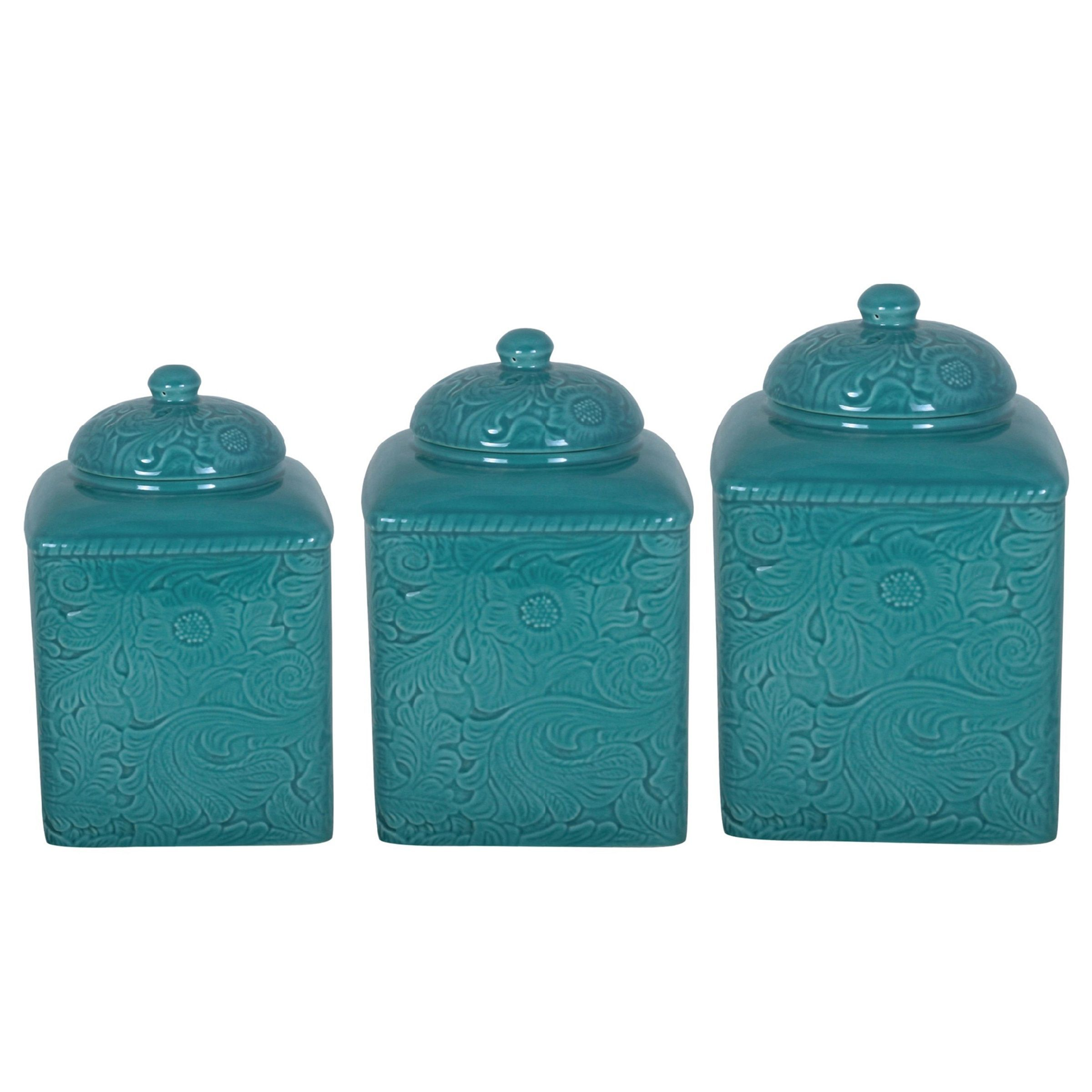 HiEnd Accents Savannah Turquoise Canister 3-piece Set (Turquoise ...