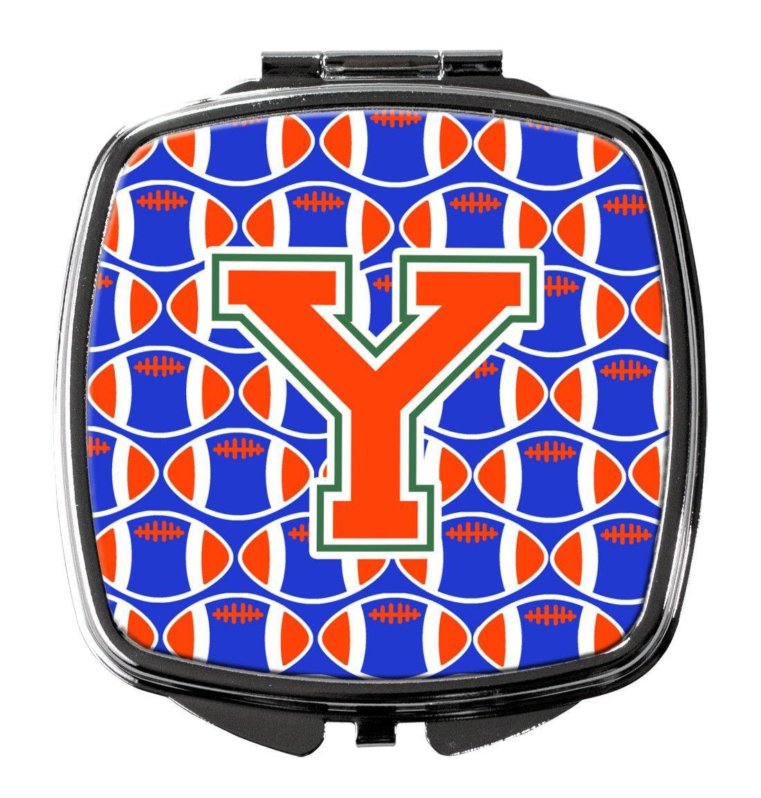 Letter Y Football Green, Blue and Orange Compact Mirror CJ1083-YSCM