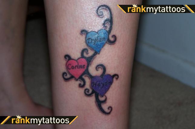 Three Heart Tattoo Name Tattoos For Moms Tattoos With Kids