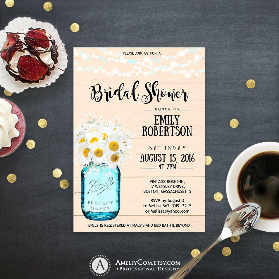 Bridal Shower Invitation Printable Daisy u0026 Mason