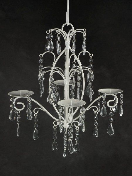 chandeliers with dangling crystals holds 4 candles engagement rh pinterest co uk