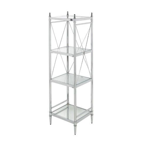 Linon Summit Chrome (Grey) and Glass 4 Tier Shelf in 2018 Products