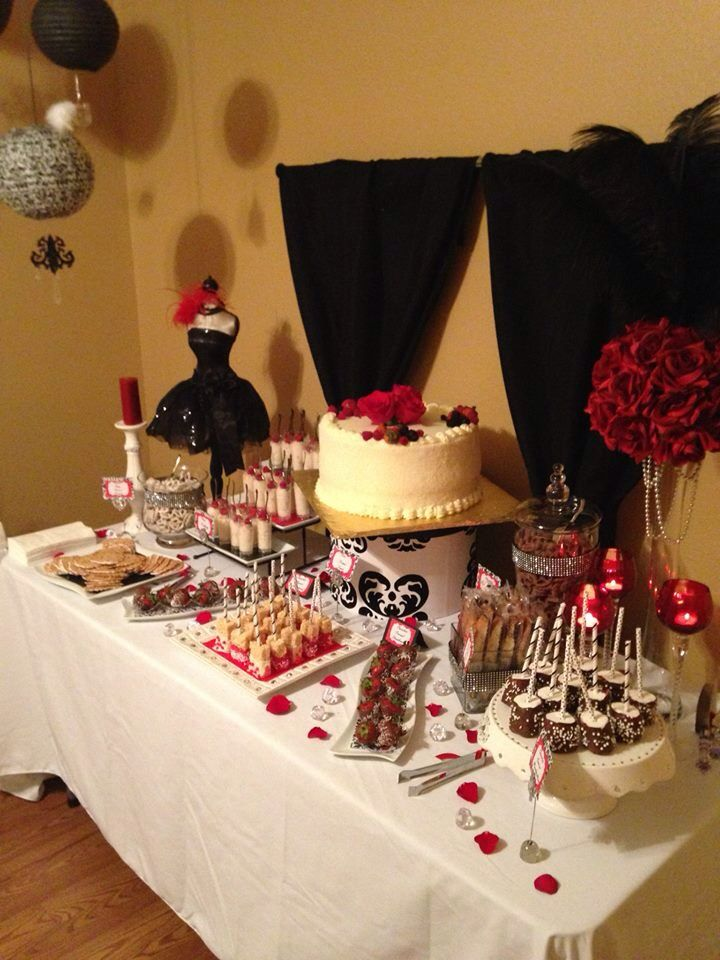 black white red dessert table candycouturesweetscom