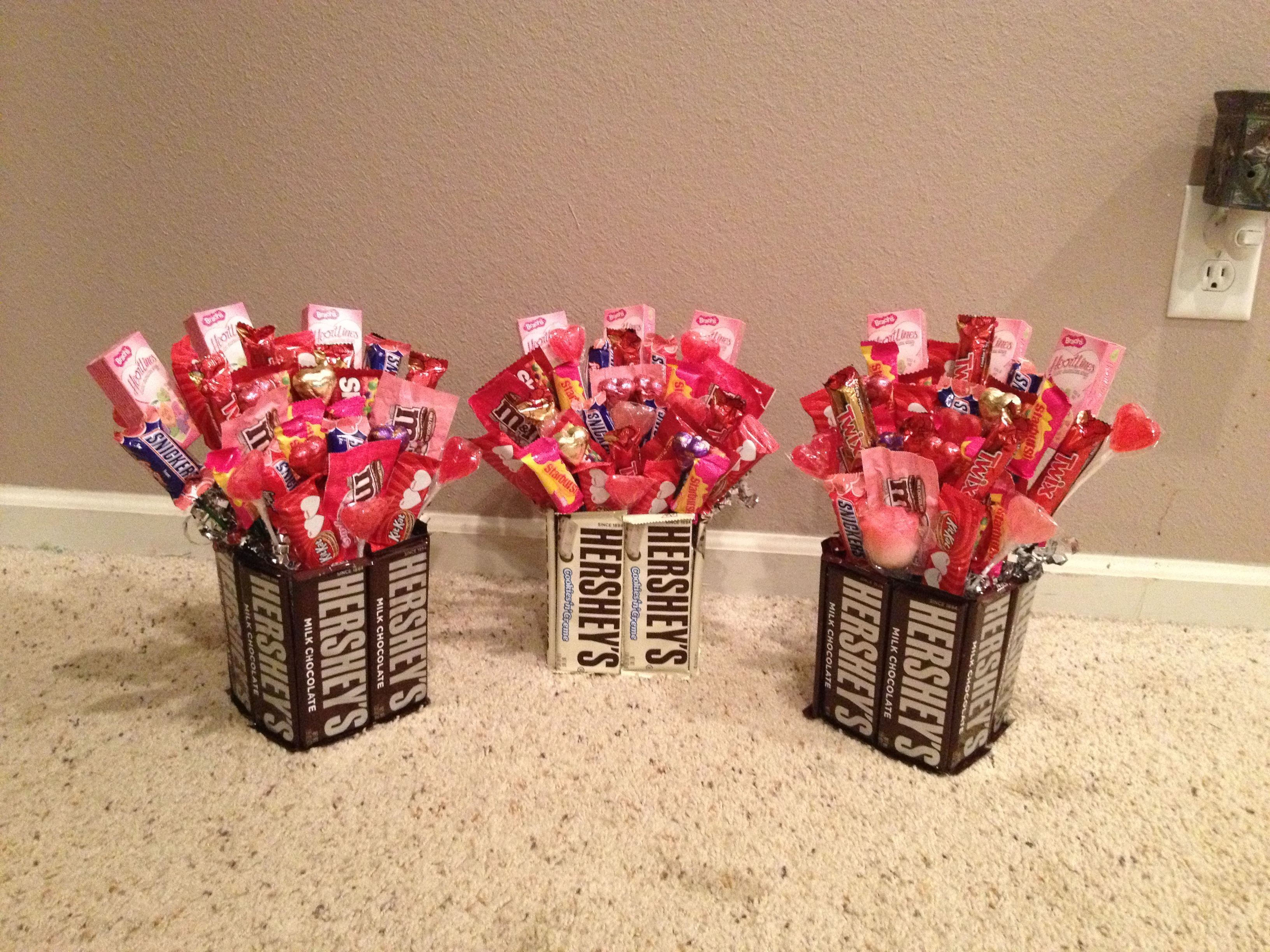 Valentine candy bouquets made for my children gifts for Valentine candy crafts ideas