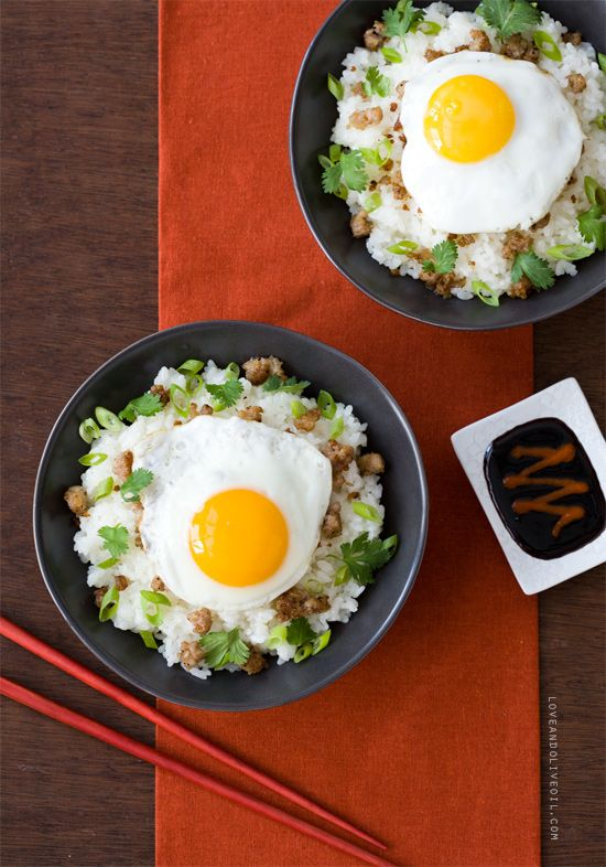 Asian-Style Loco Moco with coconut sticky rice, ground pork and soy reduction from Breakfast for Dinner