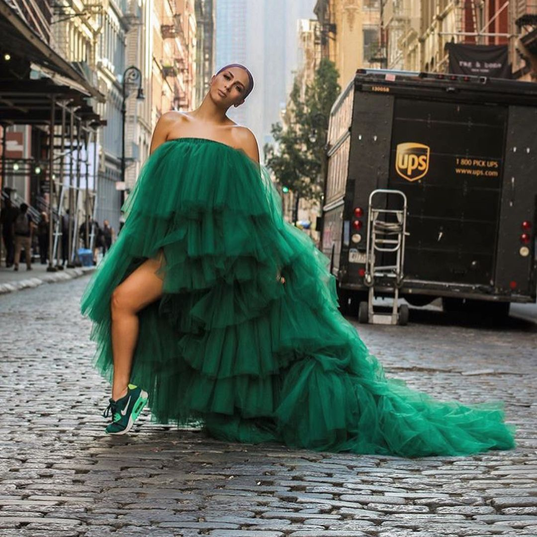 Greeen With Envy Fashionweek Unapologeticdopeness Green Dress Tulle Skirts Outfit Dresses [ 1080 x 1080 Pixel ]