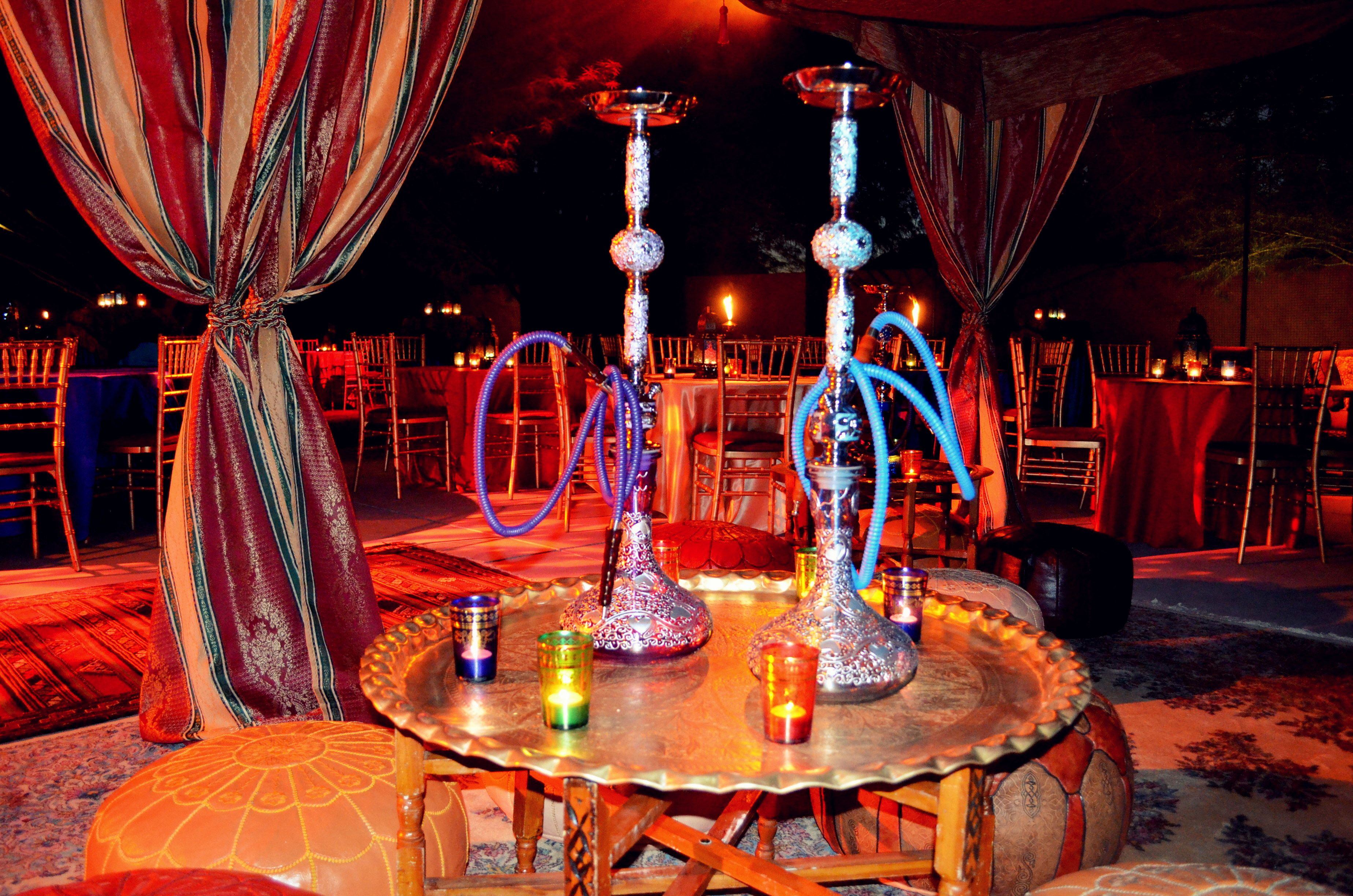 Two hookahs an arabian night themed event 30th birthday party pinterest arabian nights - Shisha bar dekoration ...