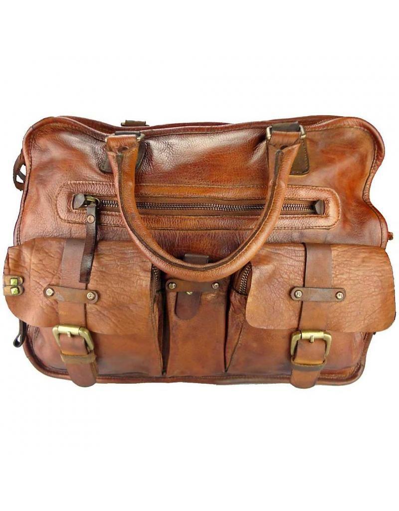 3e779c6bb6f Desiderius Handgemaakte Dames Heren Schoudertas Laptoptas Washed Leather