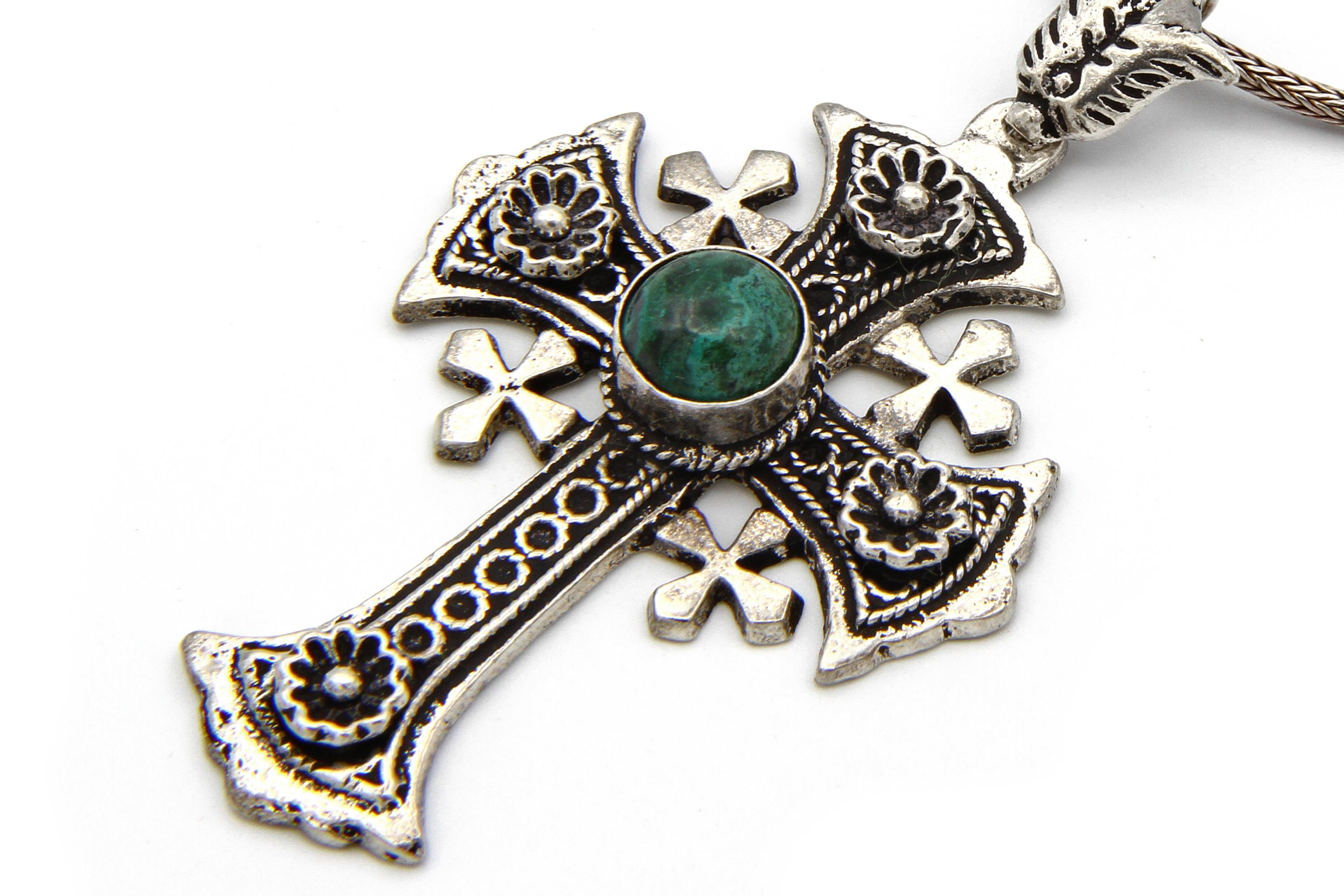 vintage to full necklace pendant silver crusaders item f jerusalem cross expand click