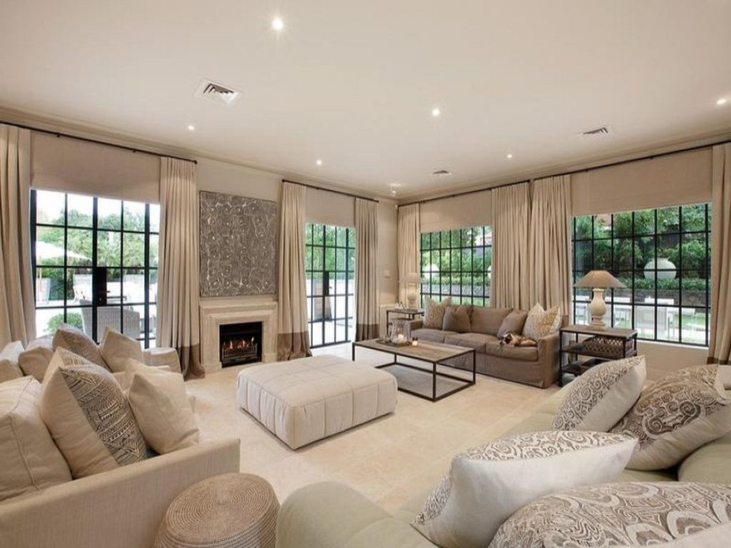 open kitchen living room floor plan pictures%0A Open plan living room using beige colours with carpet  u     fireplace  Living  Area photo