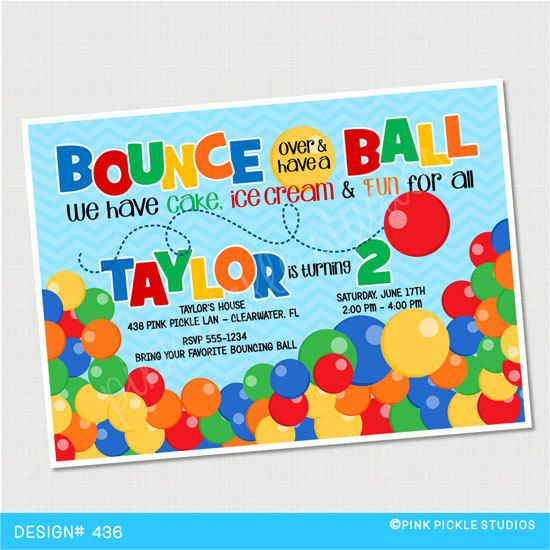 Bouncing Ball Birthday Party Invitations By Pinkpickleparties 10 00 Bouncy Ball Birthday Ball Birthday Birthday Invitations