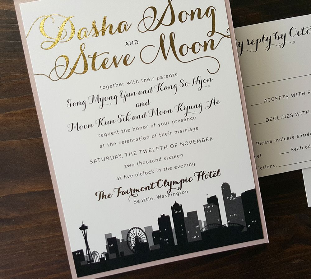 contemporary wedding invitation cards%0A Modern and romantic Seattle City Skyline wedding invitation featuring gold  foil accents with black and blush
