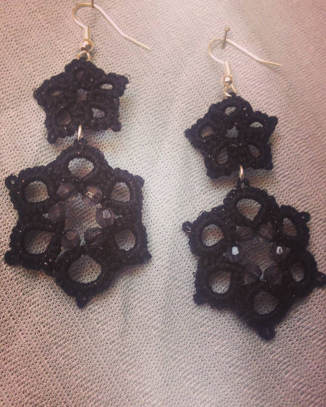 Long  black earrings #tatting  #earrings  #black  #long by danguba_handmade