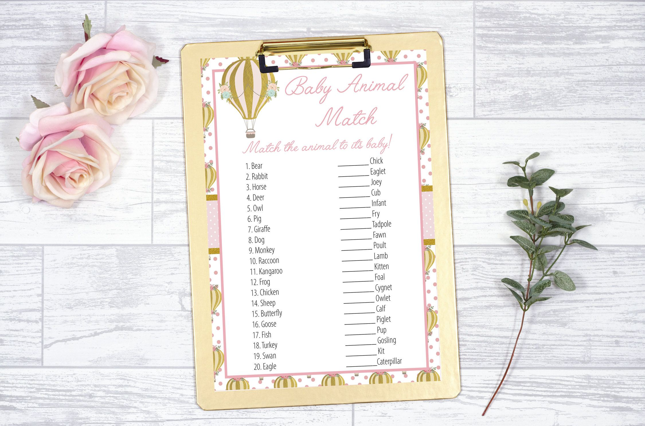 Printable Hot Air Balloon Girl Shower Baby Animal Match