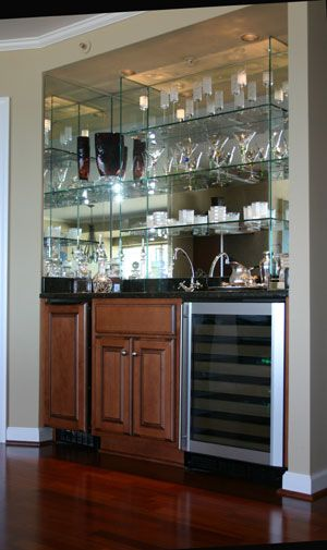 turn closet into custom mirror and glass bar interiors rh pinterest com