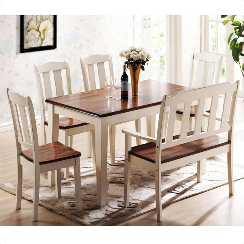 7700 Casual Two Toned Dining Room Set In Solid Wood Features A Rectangular Table With Matching Slat Back Chairs And Bench