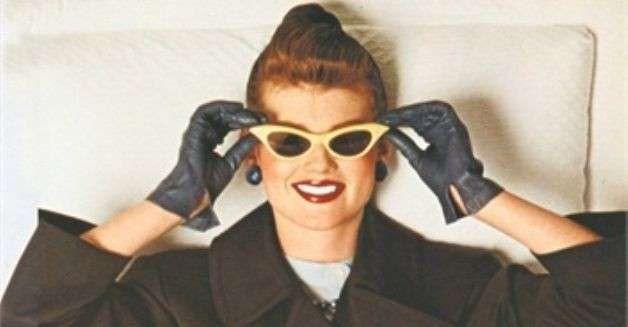 Cateye NERO Occhiali da sole nello stile della 50er anni dipinta a mano