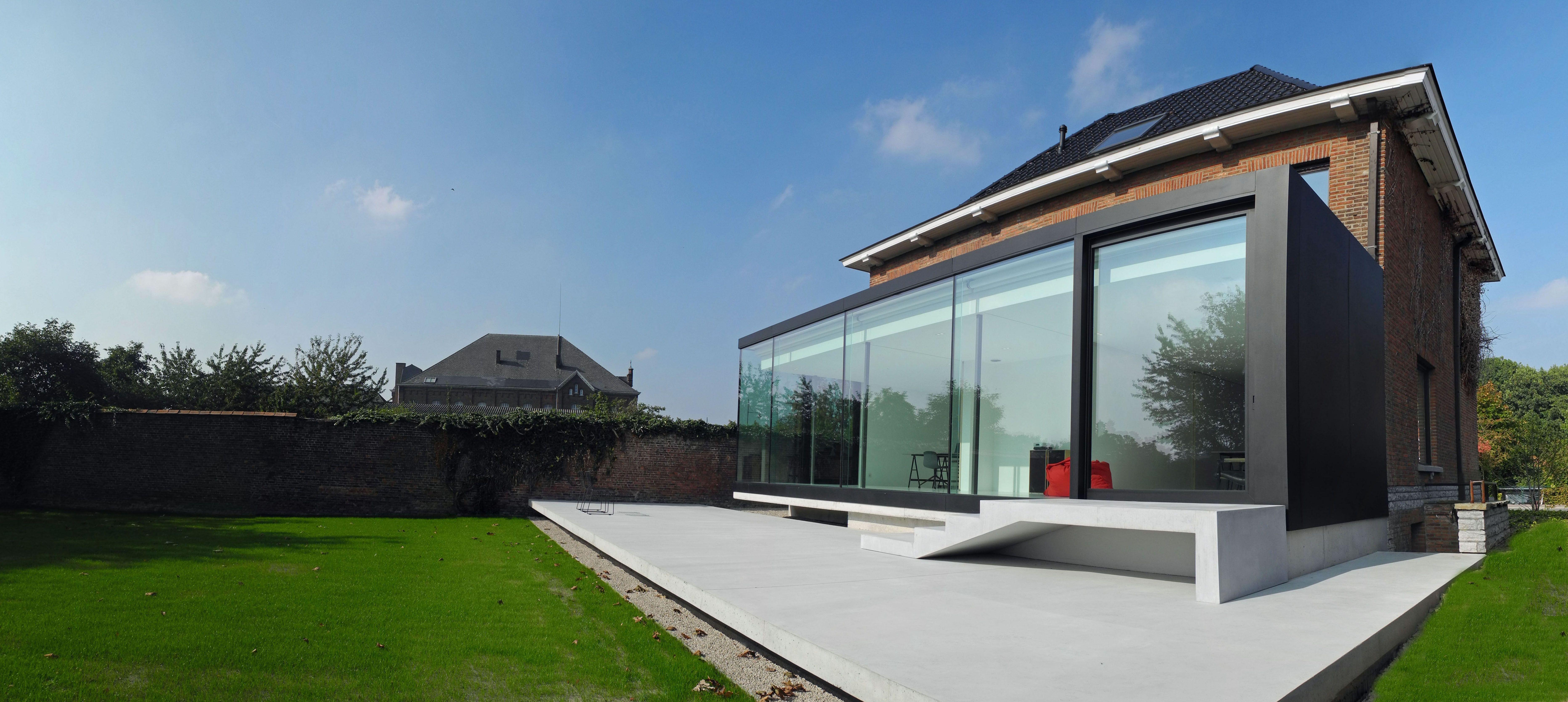 Arcero architecten i architect jan cloetens i moderne uitbreiding renovatie woning zwart - Uitbreiding huis glas ...