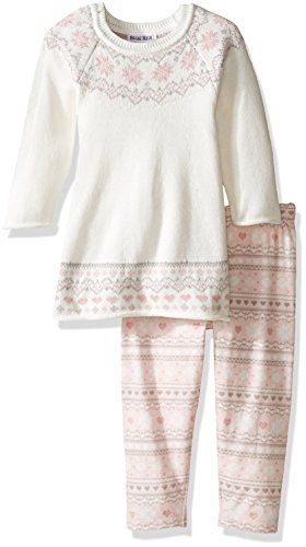 Blueberi Boulevard Little Girls Toddler 2 Piece Sweater Set Print Legging Cream 6 -- For more information, visit image link.Note:It is affiliate link to Amazon.