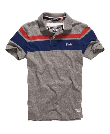 d63f977445 Superdry men's Twin Stripe Hit polo shirt. A classic polo shirt featuring a  large 3 colour stripe design across the shoulders and a luxury velvet lined  ...