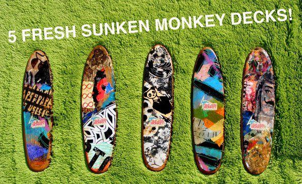 Sunken Monkey Skateboards by Elliott C Nathan, via Behance