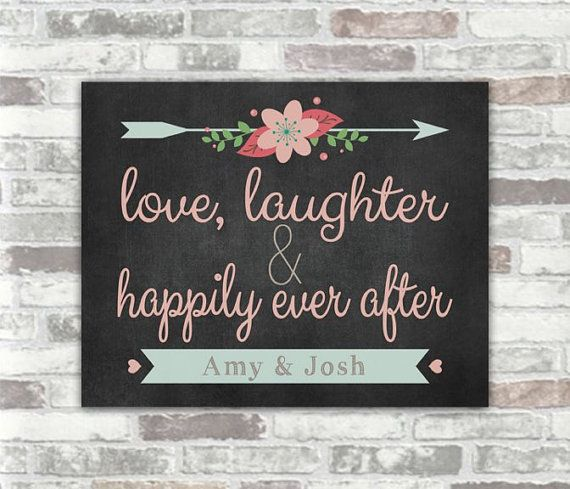 Wedding Decor Signs New Printable  Personalised Love Laughter And Happily Ever After 2018
