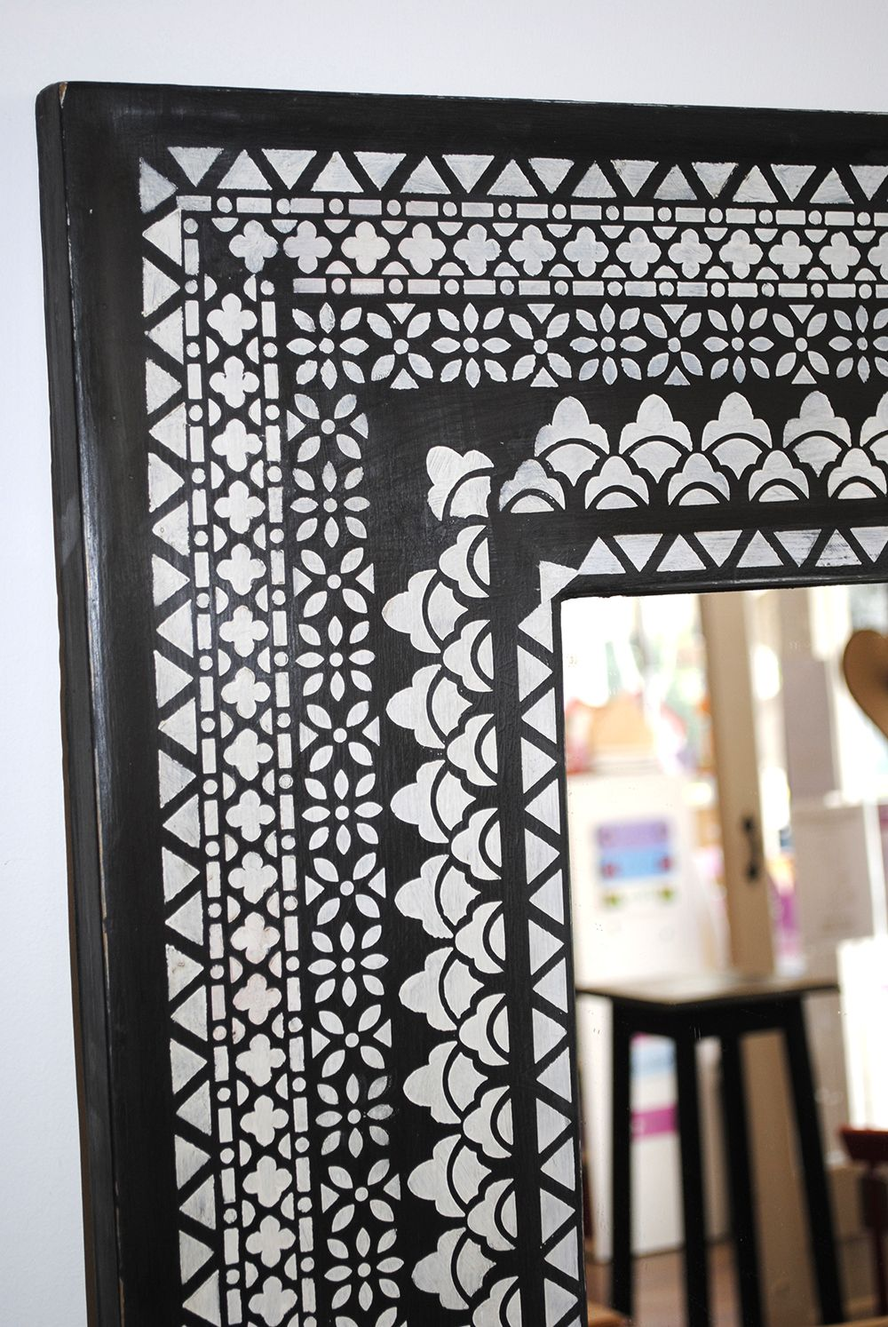 Stencilled mirror frame using a selection of border stencils from stencilled mirror frame using a selection of border stencils from nicolette tabram designs amipublicfo Image collections