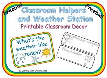 classroom helper and weather station printables classroom rh pinterest com