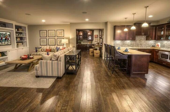 Combined living and kitchen open plan xxx living room for Kitchen family room combo floor plans