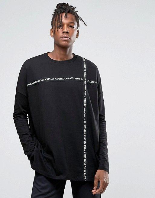 59b26af1c Camiseta de manga larga extragrande con cinta estampada de