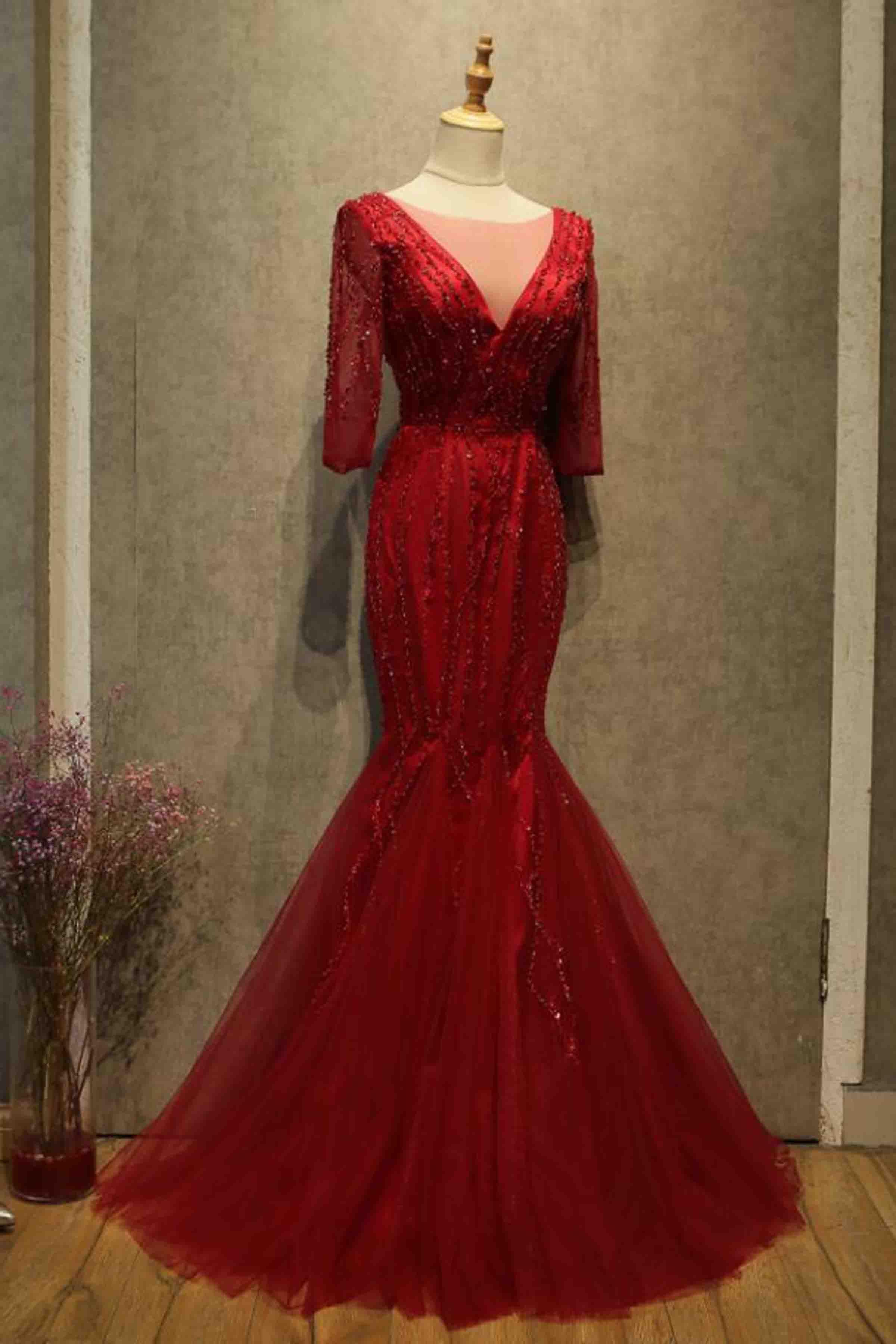 fb8c37d6 Red tulle half sleeves v neck mermaid sequins floor-length A-line prom  dresses #promdress