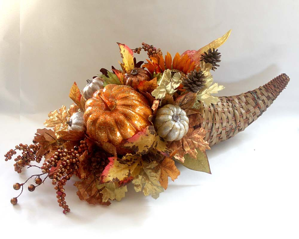 Fall silk flower arrangement cornucopia centerpiece
