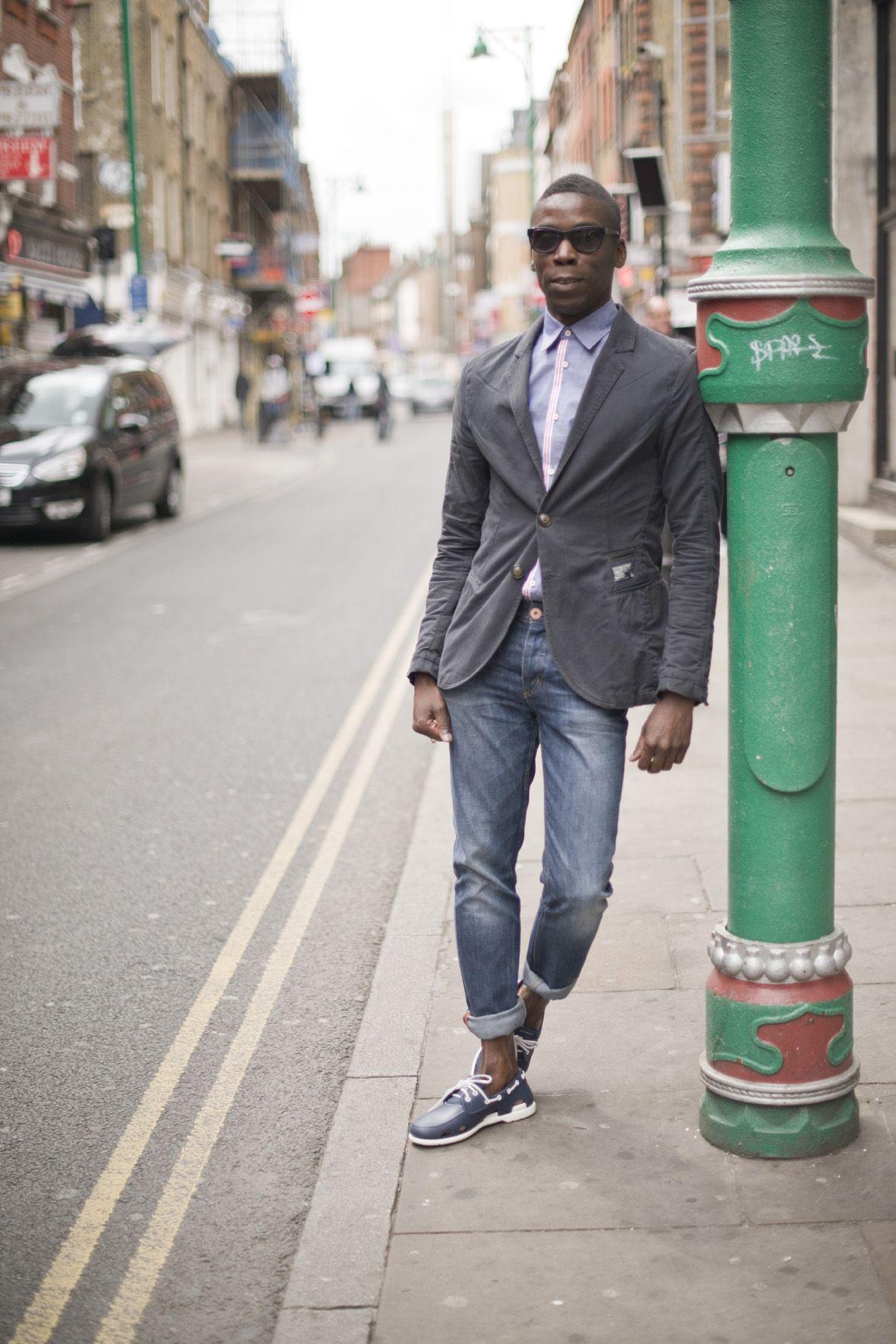 Men's Charcoal Cotton Blazer, Light Violet Dress Shirt, Blue Jeans ...
