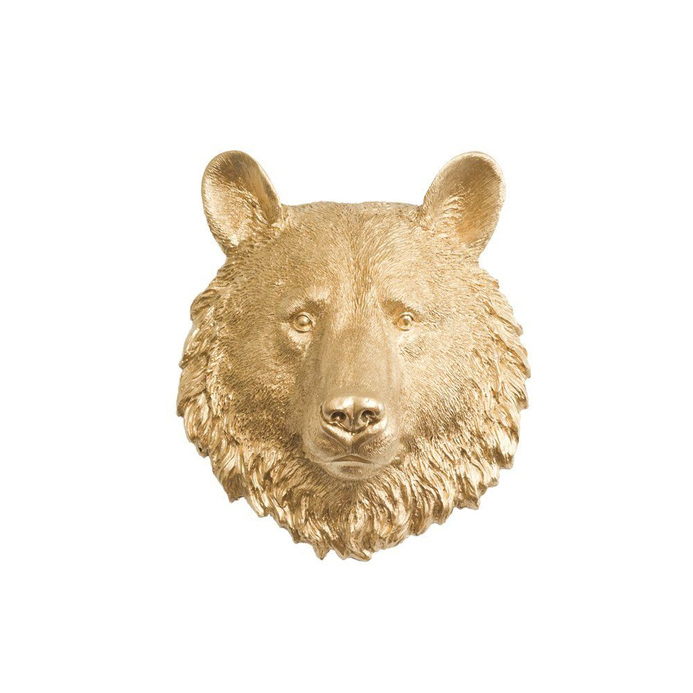 Wall Charmers Bear Mini in Gold - Faux Head Bust Mounted Fauxidermy ...