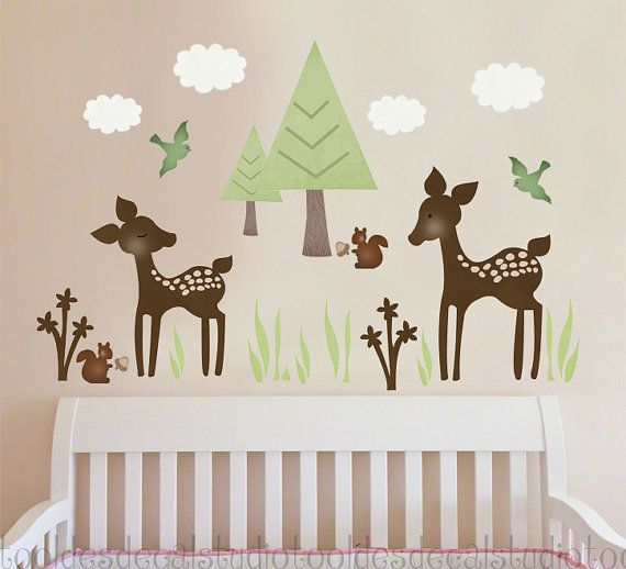 Deer family trees clouds are included in reusable fabric decal stickers made in the usa by toodles decal studio dimensions deer family fabric wall