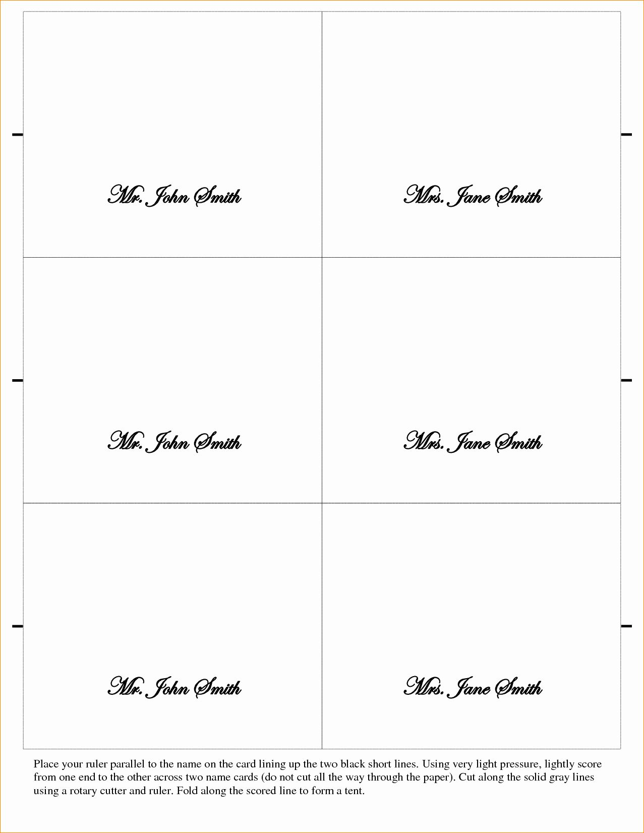 Place Cards Templates 6 Per Sheet Best Of 5 Placecard Template Place Card Template Place Card Template Word Card Templates Printable