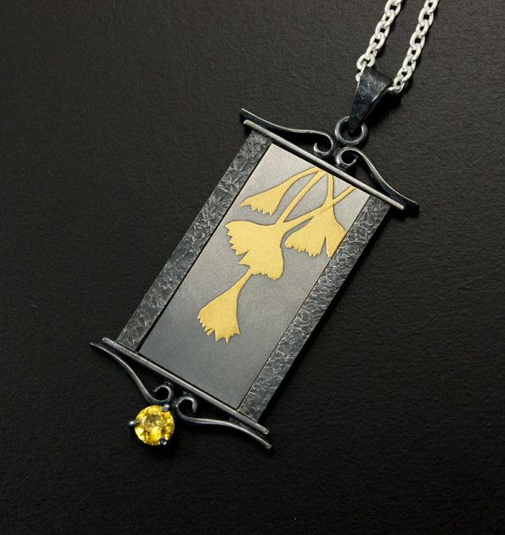 Ginkgo leaves gold Keum Boo silver pendant with yellow by KAZNESQ