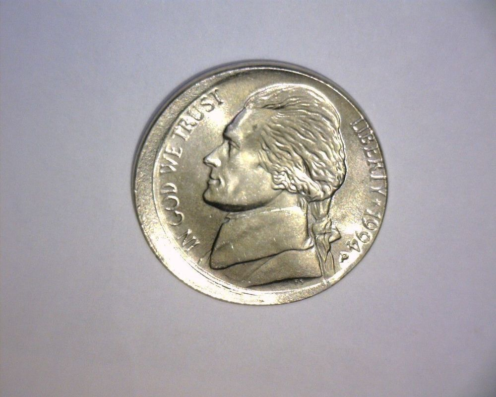 Jefferson nickel struck off center 1994p nice mint error coin bu