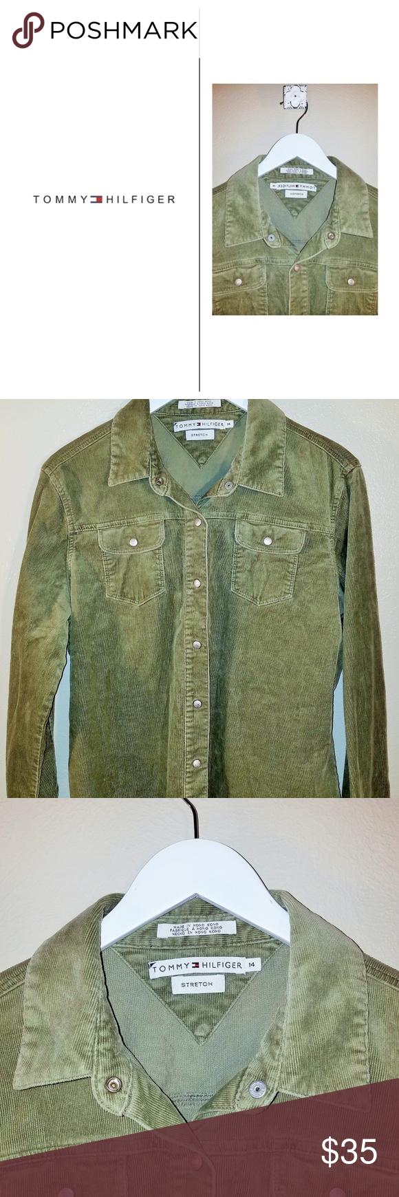 Green Corduroy TH Snap Top Size 14 Clothes design