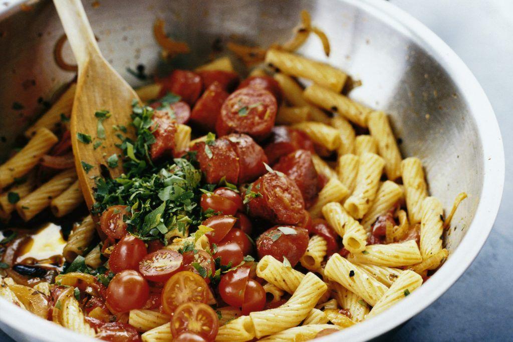 Pasta Tortiglioni Med Chorizo Och Grillad Paprika Recept