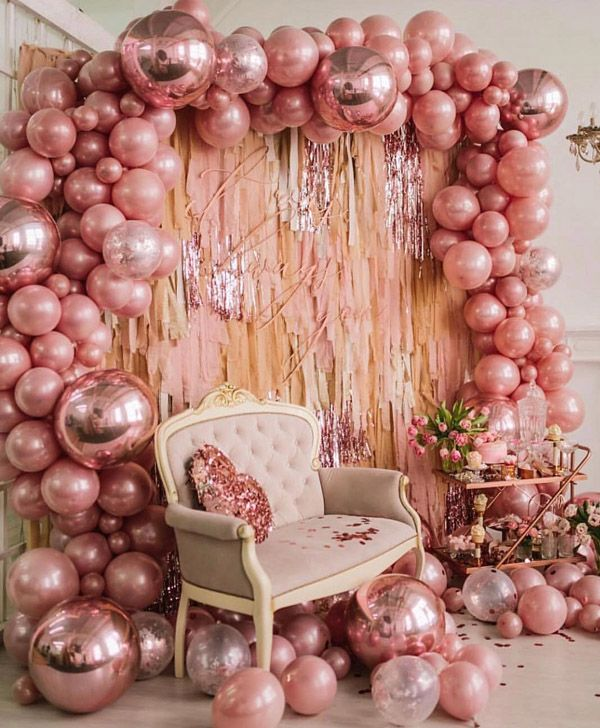 25 Balloon Ideas For Party Gold Birthday Party Rose Gold Party 18th Birthday Party