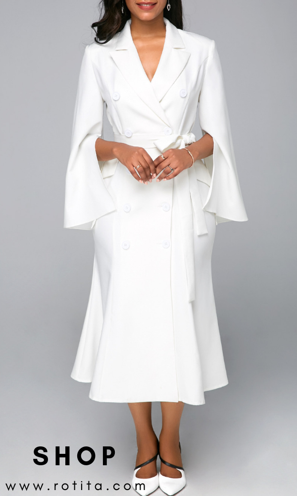 efdd63c1eb8 Belted Slit Sleeve White Button Detail Midi Dress .Waiting for the fall  coming