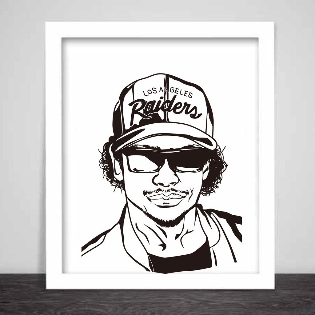 Ice Cube NWA Art Poster  Sizes  Hip Hop Losangeles  Babes - Los angeles poster black and white