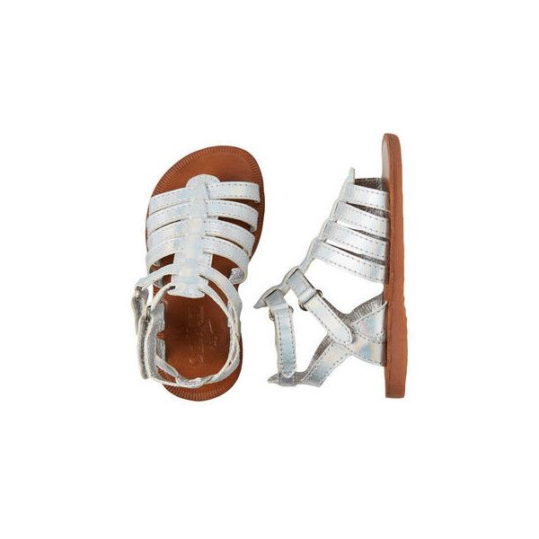 baaa75a1fd85 OshKosh Silver Gladiator Sandals ( 15) ❤ liked on Polyvore featuring baby