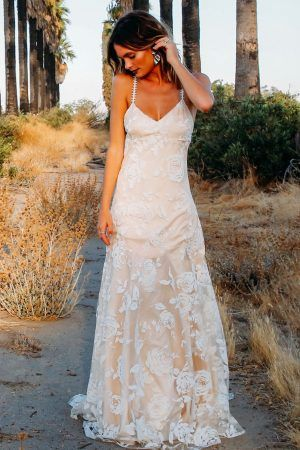 Floral Print Wedding Dress Backless Daughters Of Simone