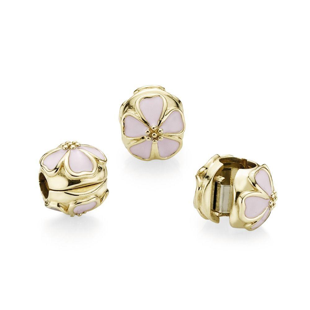 3499 Pink Cherry Blossom Clip Pandora Hong Kong Estore Pandora Estore Gold Clips Girly Accessories Stud Earrings