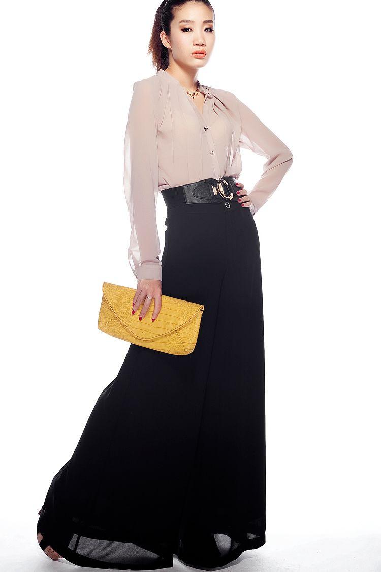 Aliexpress.com의 제공 의 패션 2013 새로운 도착 여름 여성 바지 기울어 진 스트라이프 사 쉬폰 폭 넓은 다리 바지 바지 culottes 피트 캐주얼 긴 바지